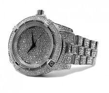 Milionari in finta Diamante Lunetta Cinturino in Metallo Placcato argento Hiphop Bling Orologio