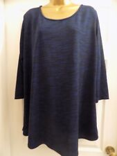 New Ladies MARINA KANEVA Blue/Black Speckled Long Tunic Top Plus Size 22