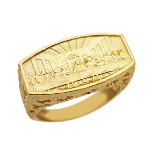 10K Yellow Gold Last Supper Ring Mens Last Supper Solid Gold Ring Size 7