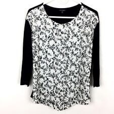 Conrad C Collection Blouse Women's Size Medium Black White Lace Front 3/4 Sleeve