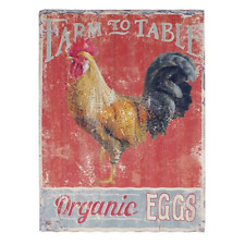 "Rustic Tin Sign ""Farm to Table"" Vintage Rooster Farmhouse Decor"