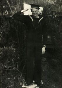 Antique portrait of a Navy Sailor real photo RPPC postcard social history #49