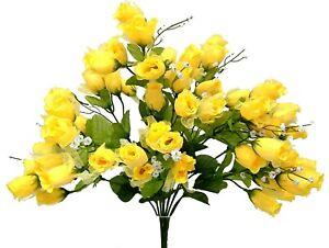 70 Yellow Mini Rose Buds Silk Flowers Wedding Bouquet Artificial Arrangement