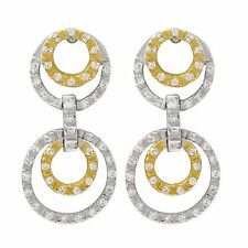 Zirconia Open Circle Dangle Earrings Sterling Silver Two-tone Finish White Cubic