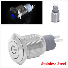 Waterproof Stainless Steel Blue 12V 3A 16mm LED Power Button Switch Push ON/OFF
