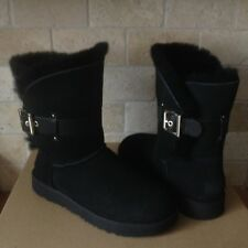 UGG Jaylyn Black Suede Fur Cuff Buckle Ankle / Short Boots Size US 9 Womens