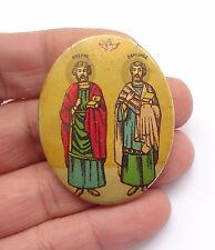 1950's Saints ANARGYROI Cosmas - Damian Vintage Greek Icon Button