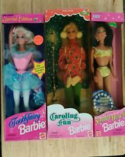 3 Barbies! Toothfairy, Caroling Fun, and Sparkle Beach Barbies FREE SHIPPING