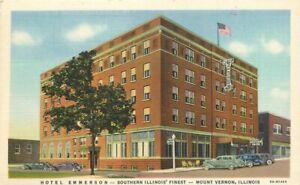 Hotel Emerson roadside Mount Vernon Illinois 1930s Postcard Teich Linen 13492