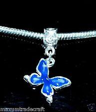 5x Azul Oscuro De Aleación esmalte mariposa encanto granos Fit europeo serpiente cadena