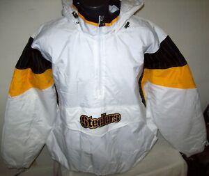 PITTSBURGH STEELERS NFL Starter Hooded Half Zip Pullover Jacket  WHITE 3X