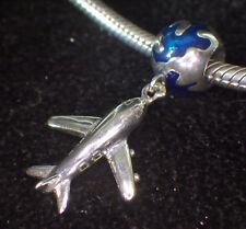 UNBRANDED 925 SILVER DANGLE AIRPLANE & BLUE ENAMEL WORLD EUROPEAN BEAD CHARM