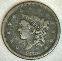 1838 Coronet Head US Large Cent Copper Coin Good Grade 1c US Penny Coin