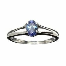 Sterling Silver Ring with an Oval Cut Tanzanite And Platinum (TCW 0.44)