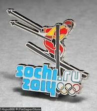 OLYMPIC PINS BADGE 2014 SOCHI RUSSIA CUT OUT SPORT OF DOWNHILL SKIING (SILVER)
