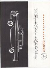1960s Mercedes Benz 300 SE 4 Door Sedan Dealer Advertising Flier