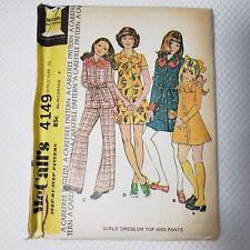 Vintage 70s McCalls 4149 Size 12 Girls Dress Top Pants Hippy Bell Bottom