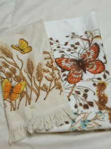 Vintage Martex Butterfly Floral Cotton Hand and Bath Towels