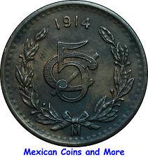 Mexico 5 Centavos Mo 1914, Uncirculated.