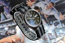 Vintage Automatic Seiko 5 Men's watch Black Dial Day Date Bond N.A.T.O Strap
