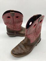 CHILDREN'S/YOUTH ARIAT WESTERN RED AND BROWN BOOTS 10005994 Sz. 3