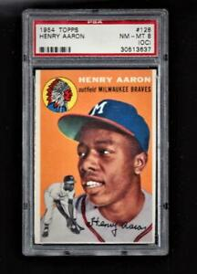 ⚾1954 Topps #128 HANK AARON PSA 8 ROOKIE Centered L/R Sharp Less Than 1% Higher!