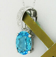 GENUINE 1.17 Cts BLUE TOPAZ & DIAMOND PENDANT 10k GOLD * Free Certificate *