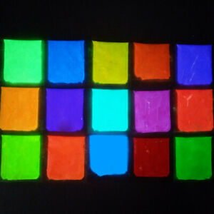 GLOW IN THE DARK Powder Pigment Slime Resin Coating Paint Fluorescent 15 Colors