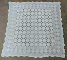 "38"" Square Vintage Crochet Table Doily"