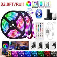 65FT LED 5050 Strip Lights 32.8ft/roll Music Sync Bluetooth APP Remote RGB Light