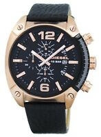 Diesel Overflow Chronograph Black Dial Black Leather DZ4297 Men's Watch