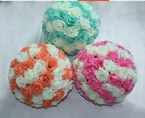 Pink and Ivory Rose Flower Ball  Wedding decoratin Ball Kissing Ball 6 inch