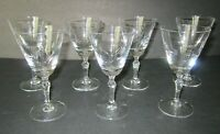 "VINTAGE FOSTORIA GLASS ""SWEETHEART ROSE"" ETCHED 3oz. WINE GLASSES (7)"