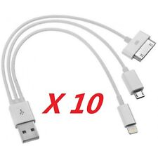 10Pack Bizlander Ultimate 3 in 1 Charge Cable for iphone samsung smartphone AQW