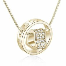 Love Heart Ring Crystal Necklace Xmas Present Gift For Wife Girl  Lady Gold
