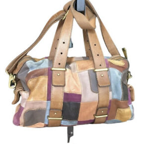 Fossil leather suede rare patchwork bag crossbody barrell satchel