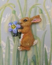 FORGET-ME-NOT & RABBIT BROOCH Spring Pin Easter Bunny Pin- HANDMADE HAND PAINTED
