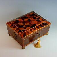 Antique Regency Dresser Keepsake  Box with Working Key