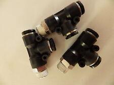 """Lot de 3 12mm Pivotant Côté Tee adaptateur 3/8 """"BSPT accessoires Pushin tcd1238"""