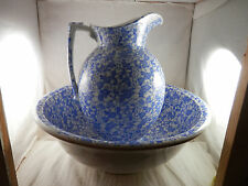 "Vintage Pitcher & wash Basin W & C England blue & white 14"" Bowl 12"" pitcher"