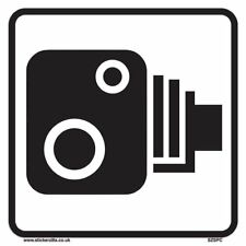 Speed Camera Sign [1 X - 200mm W x 200mm H White Background ] Ideal For Wheel...