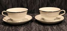 2 Zylstra Silver Ecstasy Tea Cups and Saucers Select Fine China (Made In Japan)