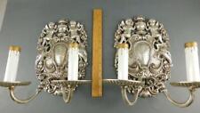 Vintage Ornate Pair Silverplated Cherubs Birds Floral Adams Style Sconces 12''H