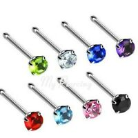 1pc. 20G, 18G 316L Surgical Steel Nose Bone with 3mm Round Prong Set C.Z. Gem