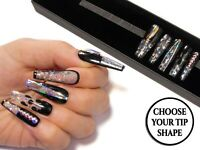 Crystal Clear Glass Fake False Press On Nails Black Holo Swarovski 3D Nail Art