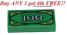 ☀️NEW LEGO MINIFIG City Money $100 DOLLAR BILL 1x2 Green Printed Tile Euro Cash