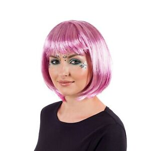 Women`s Deluxe Pink Glitter Wig Adult Pink Bob Hair for Festival Party Clubbing
