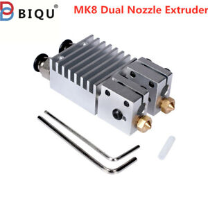 BIQU MK8 Dual Nozzle Extruder 2 in 2 out Extruder Head 12V for 3D Printer 1.75mm