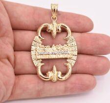 "2.5"" Men's Diamond Cut Last Supper Medallion Pendant Real 10K Yellow White Gold"