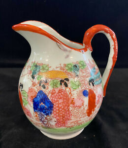 Antique Chinese Hand Painted Creamer or Small Pitcher Famille Verte Decoration